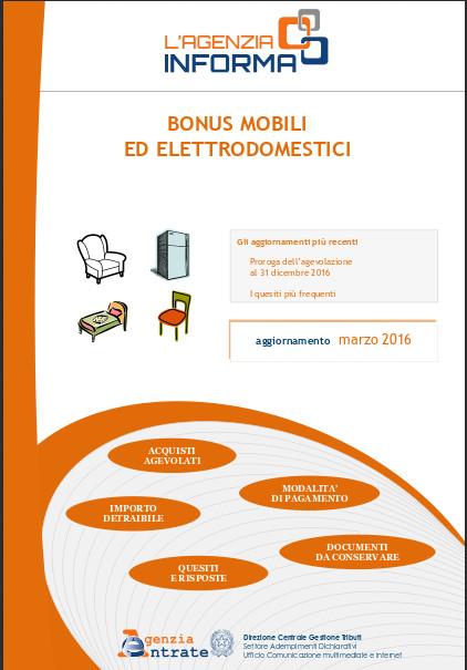 Bonus mobili e detrazioni fiscali aggiornamento alla for Bonus arredi agenzia entrate
